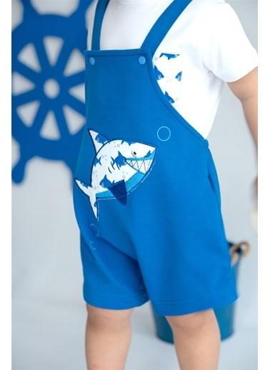 Nila Kids Shark in Blue Organik Erkek Bebek Kısa Tulum Mavi